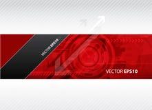 De banner van het Web met rode technologieillustratie. Stock Afbeelding