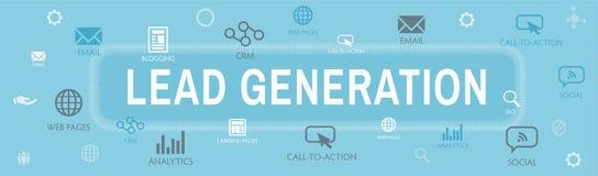 De Banner van de het Webkopbal van de loodgeneratie die lood voor doel aantrekt royalty-vrije illustratie