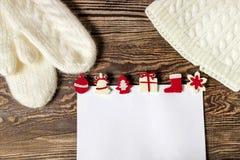 De Banner van Kerstmis Brief aan de Kerstman De Winterachtergrond van de wenslijst royalty-vrije stock afbeeldingen