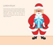 De Banner van Kerstmis Leuk karakter Santa Claus met gift Uw tekst Gelukkige Nieuwjaar en Kerstmis vector illustratie