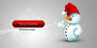 De Banner van Kerstmis met de Positieve Sneeuwman van de Houding Royalty-vrije Stock Fotografie