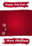 De Banner van Kerstmis in rode grungekleuren vector illustratie