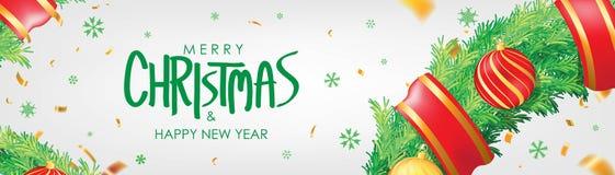De Banner van Kerstmis Witte Kerstmisachtergrond met Kerstmisballen, sneeuwvlokken en gouden confettien Horizontale Kerstmisaffic royalty-vrije illustratie