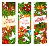 De banner van de Kerstmiskroon op houten achtergrond Royalty-vrije Stock Afbeelding