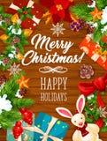 De banner van de Kerstmiskroon op houten achtergrond Stock Afbeeldingen