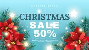 De banner van de Kerstmisverkoop met Poinsettiabloem Stock Foto