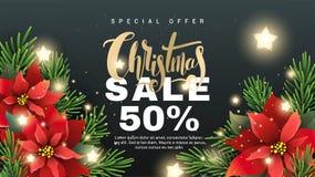 De banner van de Kerstmisverkoop met sparrentakken Royalty-vrije Stock Foto