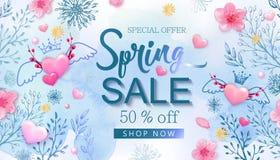 De banner van de de lenteverkoop met kersenbloesems, bloemen royalty-vrije illustratie