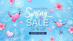 De banner van de de lenteverkoop met kersenbloesems, bloemen stock illustratie