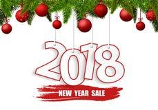De banner van de nieuwjaarverkoop 2018 met rode Kerstmisballen Royalty-vrije Stock Afbeelding
