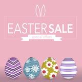 De banner van Pasen eegs voor Pasen-verkoop met speciale aanbiedingen Stock Afbeelding