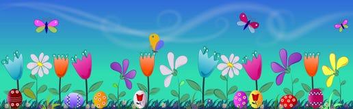 De banner van Pasen met eieren en bloemen Royalty-vrije Stock Fotografie