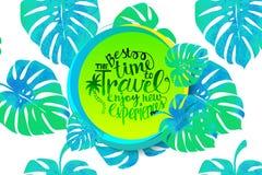 De banner van de reistijd met tropische bladeren Stock Fotografie