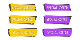 De banner van de speciale aanbiedingverkoop voor uw ontwerp, de gebeurtenisfestival van de kortingsontruiming, illustratie Stock Afbeelding
