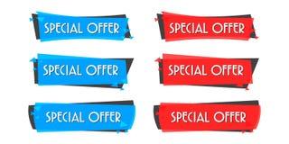 De banner van de speciale aanbiedingverkoop voor uw ontwerp, de gebeurtenisfestival van de kortingsontruiming, illustratie Stock Afbeeldingen