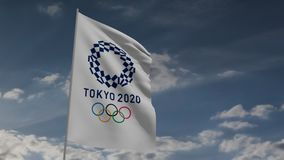 De banner van Tokyo 2020 in wind 3d animatie stock video