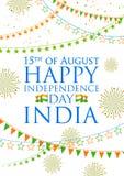 De banner van Tricolorindia voor Gelukkige Onafhankelijkheidsdag van Indiër Royalty-vrije Stock Foto's