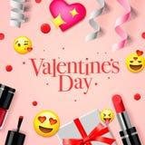 De banner van de valentijnskaartendag met liefdeemoji, pictogrammen, emoticons, giftdoos, schoonheidsmiddelen, lippenstift, spijk Royalty-vrije Stock Afbeelding