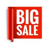 De banner van de verkoop Realistisch Rood Glanzend document lint Stock Foto's