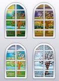 De banner van vier seizoenenvensters, vector Stock Foto
