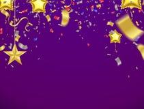 De Banner van de vieringspartij met Realistische Gloed Multi Gekleurde Confe vector illustratie