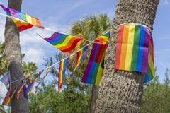 De banner van de vrolijke trotsvlag hangt op de bomen stock afbeelding