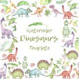 De banner van waterverfdinosaurussen vector illustratie