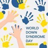 De banner van de wereld neer syndrom dag met kindhand die geel en blauw van de handverf abstract vectorontwerp doen als achtergro stock illustratie