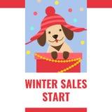 De banner van de de winterverkoop met leuk puppy in grappige hoed royalty-vrije stock foto