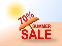 De banner van de de zomerverkoop 70% met zon en strandparaplu royalty-vrije stock foto's