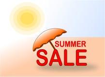 De banner van de de zomerverkoop met zon en strandparaplu stock fotografie