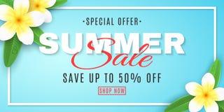 De banner van de de zomerverkoop voor Web Plumeriabloemen op blauwe achtergrond in kader Speciale aanbieding Creatieve decortekst vector illustratie