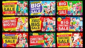 De Banner Vastgestelde Vector van de Kerstmisverkoop Korting tot 50 weg De grote Vector van de Kerstmisbanner Achtergrond Special royalty-vrije illustratie