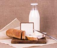 De banner voegt voor recept met brood en melk toe Stock Fotografie