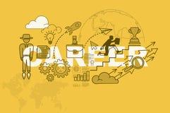 De bannerconcept van de carrièrewebsite met dun lijn vlak ontwerp royalty-vrije illustratie