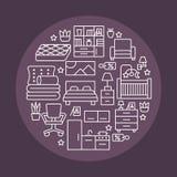 De bannerillustratie van de meubilairverkoop met vlakke lijnpictogrammen Binnenlandse opslagaffiche met woonkamer, slaapkamer, hu royalty-vrije illustratie