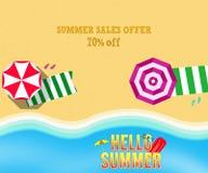 De bannerillustratie van de de zomerverkoop, Hoogste mening van de Zomerstrand met zonparaplu, picknickmat, en overzeese golf op  Stock Foto's