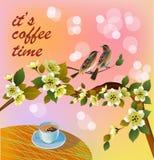 De bannerlente verlaat bloeiende kersenbloesem Koffie op de lijst in de lente Tijd om koffie te drinken Royalty-vrije Stock Foto's