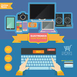 De bannermalplaatje van de conceptenillustratie voor elektronikaopslag en online winkel Royalty-vrije Stock Afbeelding