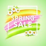 De Bannerontwerp van de de lenteverkoop voor bevordering Affiche met kader en madeliefje vector illustratie