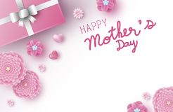 De bannerontwerp van de moedersdag van roze bloemen met hart royalty-vrije illustratie