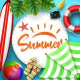 De bannerontwerp van de de zomertijd met witte cirkel voor tekst en strandelementen op blauwe achtergrond royalty-vrije illustratie