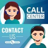 De bannerreeks van call centrewerknemers, beeldverhaalstijl stock illustratie