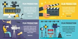 De bannerreeks van de filmproductie, vlakke stijl stock illustratie