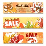 De bannerreeks van de de herfstverkoop Stock Foto