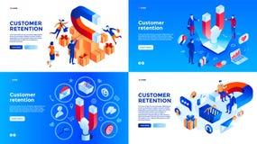 De bannerreeks van het klantenbehoud, isometrische stijl stock illustratie