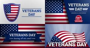 De bannerreeks van de veteranen militaire dag, beeldverhaalstijl royalty-vrije illustratie