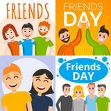 De bannerreeks van de vriendendag, beeldverhaalstijl vector illustratie