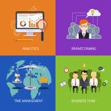De banners Analytics, brainstorming, tijd is geld en commercieel team Vlakke vector Stock Foto's