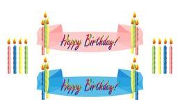 De banners en de kaarsen van de verjaardag Stock Illustratie